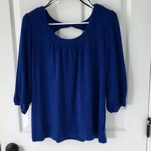 Royal blue 3/4 sleeve sweater